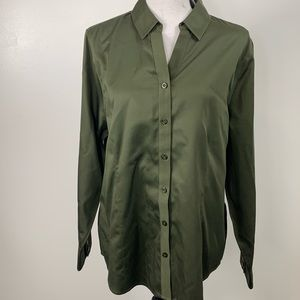 Chico's Olive Green Long Sleeve Button Down NWT